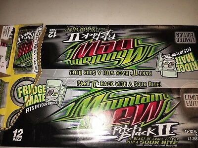 2005 MTN DEW TACO BELL Pitch Black 2 EMPTY 12-PACK SODA CAN CARTON/CASE