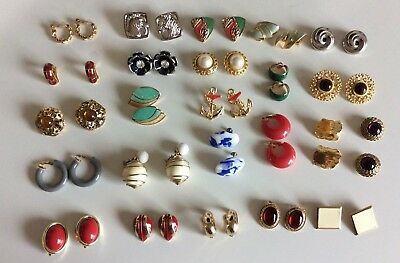 Vtg Clip On Earrings Lot of 25 Various Materials Anchor Red Blue Gold Silver