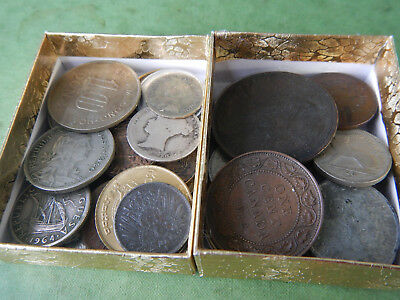 50+ Lot Of Various Foreign Coins INCLUDES 1800s and SILVER Coins Lot #135