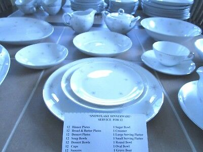 VintageJapan Snowflake Dinnerware Service for 12 Fine China Dish Set