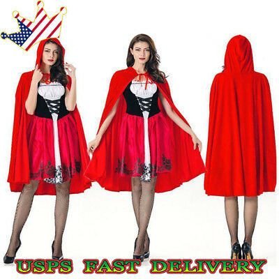 Women Adult Little Red Riding Hood Halloween Casual Costume Party Fancy Dress US