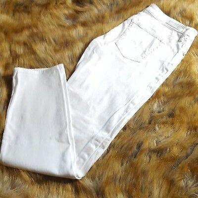 AG Adriano Goldschmied The Stevie Ankle Slim Straight Leg Jeans Size 28R White