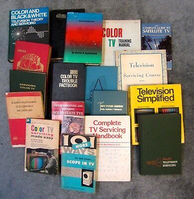 18 Vintage Television Repair Books Lot, Electrical Engineering, Service Tube TV