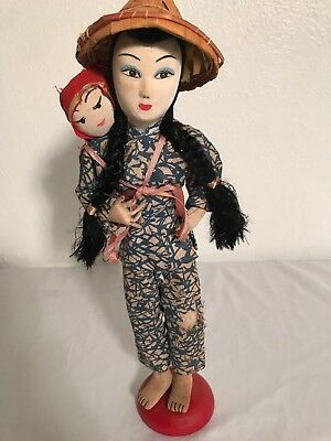 "Antique Vintage Chinese Japanese Asian Girl Baby Doll Fabric  14"" Rare"