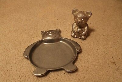 Vintage Pewter Bear Bank and pewter bear plate children