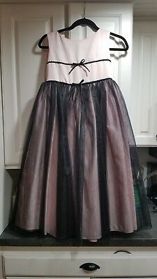 1e29559d7a Sweet Beginnings Dress Girls Sz 12 Bridesmaid Formal Pink w Black Tulle  overlay