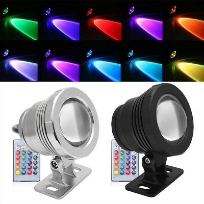 10W LED RGB Underwater Submersible Spot Light Aquarium Garden Fountain Pond Lamp