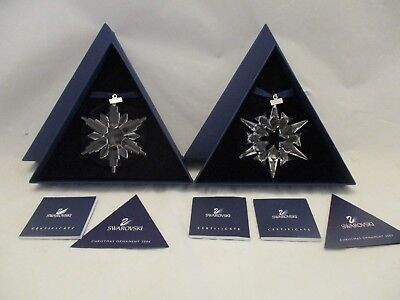 Swarovski Crystal 2006 + 2007 Annual Christmas Ornaments Snowflake Star in Boxes