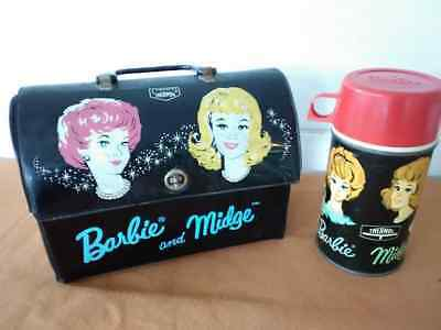 Vintage 1964 Mattel Barbie and Midge Vinyl Dome Lunch Box with Thermos