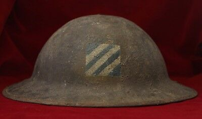 WW1 HELMET WITH 3rd DIVISION HAND PAINTED  INSIGNIA