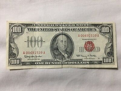 One Hundred Dollar Bill 1966 Series Red Seal United States Note