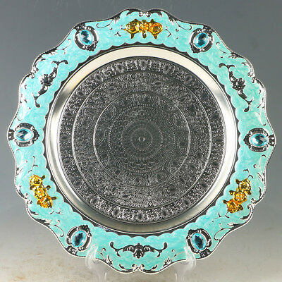 Chinese Exquisite Cloisonne  Fruit Plate Carved Flower