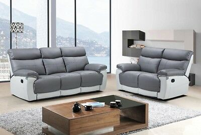 Groovy Lexi 3 2 Seater Two Tone Grey Leather Recliner Modern Sofa Ocoug Best Dining Table And Chair Ideas Images Ocougorg