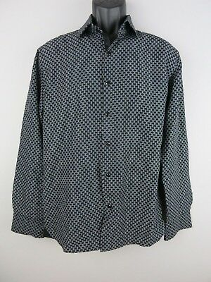 AMERICAN BREED Black White Button Front Club Dress Modern Fit Shirt LARGE A51
