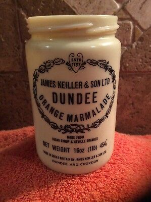 Vintage JAMES KEILLER & SON LTD Dundee Orange Marmalade Ceramic Crock Jar 1 Lb