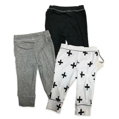 Baby Boys' 3pk Pants Cloud Island - Black/White/Gray Size 6-9M, 12M