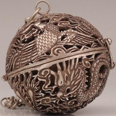 Antique Tibet Silver Pendant Ball Incense Burner Hollow Dragon And Phoenix  1