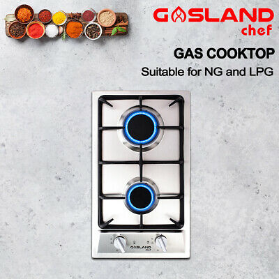 GASLAND chef Gas Cooktop 2 Burners Stainless Steel Flame Failure Cast Iron 30CM