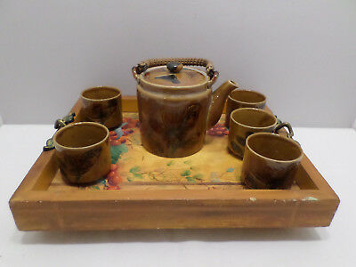 Vintage Japanese Tea Pot with 5 Cups on a Hand Painted Wooden Tray