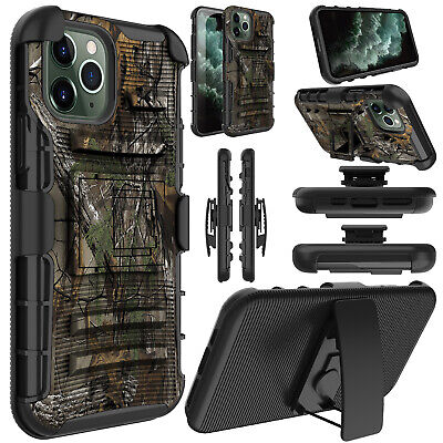 For iPhone XS Max XR X Camo Hybrid TPU Shockproof Clip Belt Kickstand Case Cover