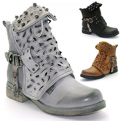Womens Studded Goth Zip Ankle Boots Chelsea Hollow Punk Buckle Martin Shoes Size