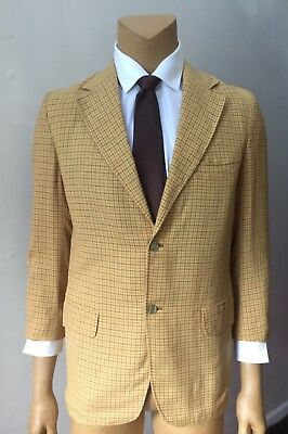 Men's Retro Check Vintage 80s Blazer Yellow Jacket Sports Coat Size  42R
