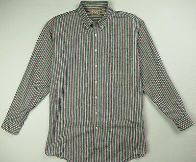 Vintage Ll Bean Striped Chambray Oxford Shirt Men S Lt Large Tall