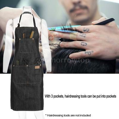 Salon Hair Cutting Apron Hairdressing Styling Cloth for Barber Black Jean Y9I7