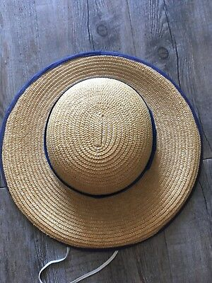 Vintage Straw Hat School Hat With Blue And Yellow Ribbon