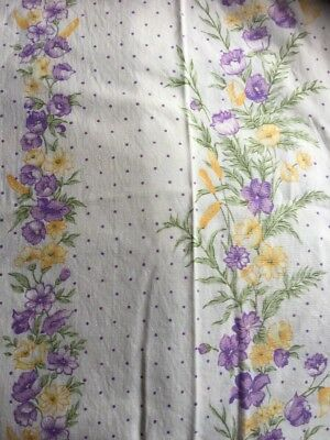 Vintage Flat Sheets X 3 Single Fabric Material. Purple Gold  White Floral. Used.