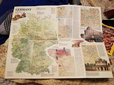 Vintage National Geographic GERMANY MAP from 1991 issue