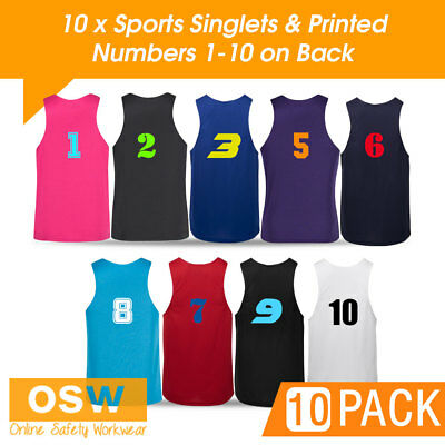 10 X Light Weight Cool Dry Sports/Jersey/Basketball Singlets + Printed Numbers