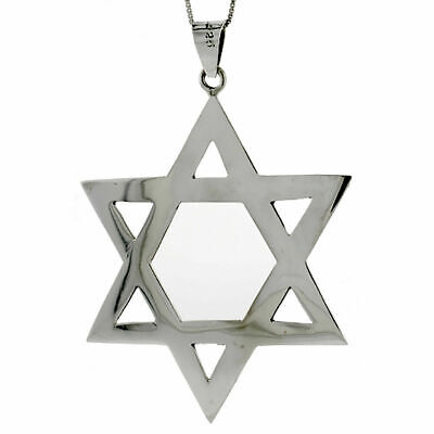 "Sterling Silver Very Large Star of David Pendant Charm 3"" long"