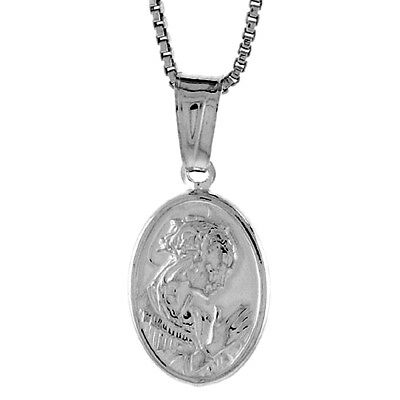 Sterling Silver A Praying Hollow Pendant Charm 9/16 inch tall