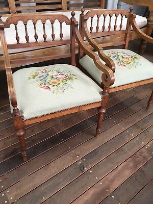 Pair Of Antique French Armchairs Tapestry Seat
