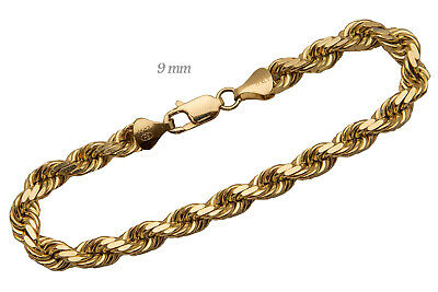 "14k Solid Yellow Gold Rope Chain Necklace 9mm Men's Women Sz 22""-30"""