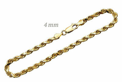"14k Solid Yellow Gold Rope Chain Necklace 4mm Men's Women Sz 16""-36"""