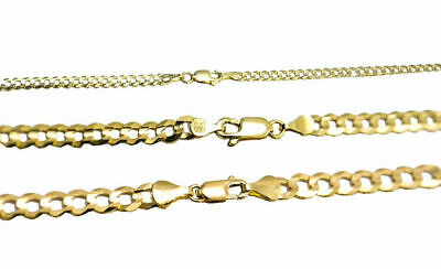 "Solid 14k Yellow Gold 3MM-5MM Curb Chain Cuban Link Necklace 16""-30"""
