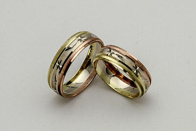 10K Solid Tricolor Gold His And Her Wedding Band Ring Set Sz 4-15 Free Engraving