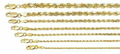 "10K Yellow Gold 1mm-5mm Diamond Cut Solid Rope Chain Pendant Necklace 16""- 32"""