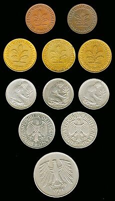 GERMANY:-Federal Republic:-11 different Type & mint marks Pre Euro  coins AP7087