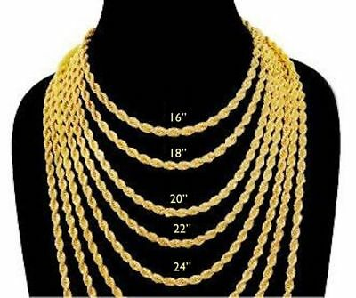 18 K gold IP Plated Rope Stainless 3 MM Chain Necklace Women Men from16 to 26in