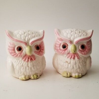 Ceramic Pink and White Owl Salt and Pepper Shakers