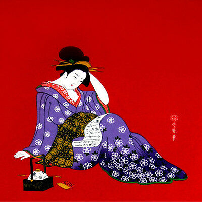 Furoshiki Japanese Wrapping Cloth Large Beauty Reading a Letter