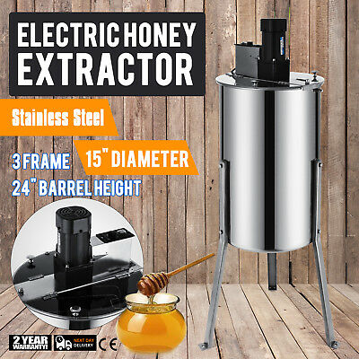 """3 Frame Electric Honey Extractor Plastic Gate 24"""" Barrel Height 120 W Motor"""