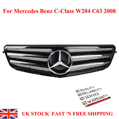 AMG Style Black Chrome Front Sport Grill for Mercedes Benz C-Class W204 C63 2008