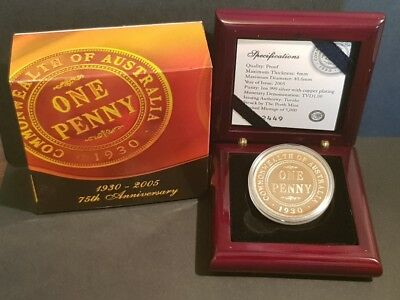 TUVALU - 75th Anniversary of the 1930 ONE PENNY - 1oz SILVER $1 PROOF COIN