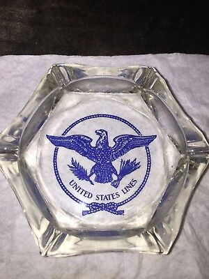 SS United States Lines Blue Eagle Ash Tray Rare!!