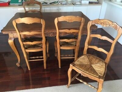 Beautiful French Provincial multi-leaf expanding, antique table with rush Chairs