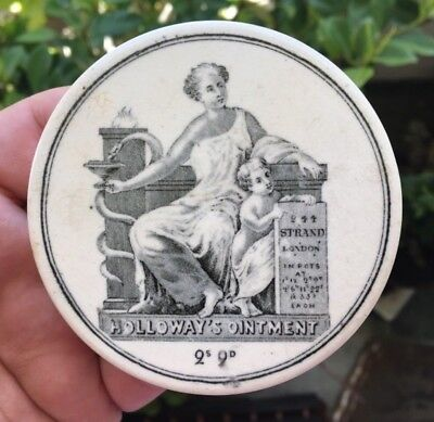 HOLLOWAYS OINTMENT POT LID 2 SHILLINGS 9 PENCE 244 THE STRAND LONDON 1890's